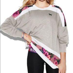 PINK VS varsity floral pullover crew sweatshirt XS